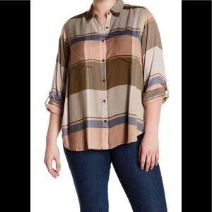 Lucky Brand Neutral Pastel Plaid Shirt 2X